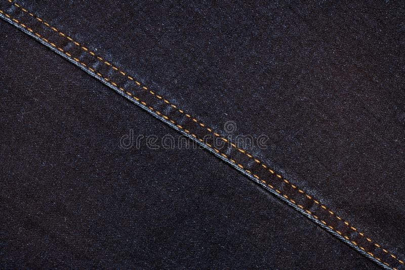 Denim Texture.Abstract Blue Jeans Background With Double Thread`s Seam.  stock photography