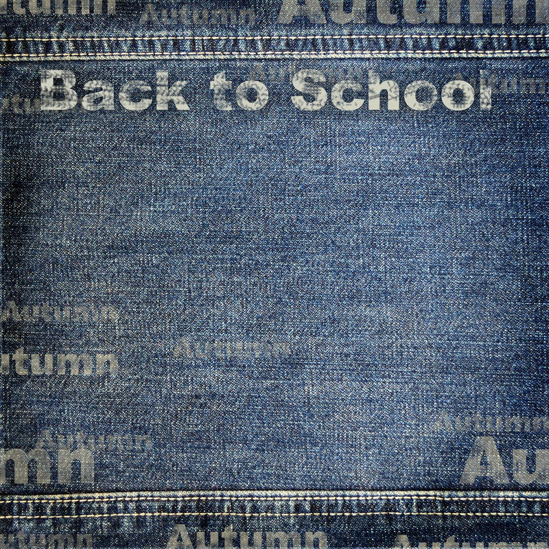 Denim texture with Back to School background. Blue and gray Denim texture with Back to School background stock illustration