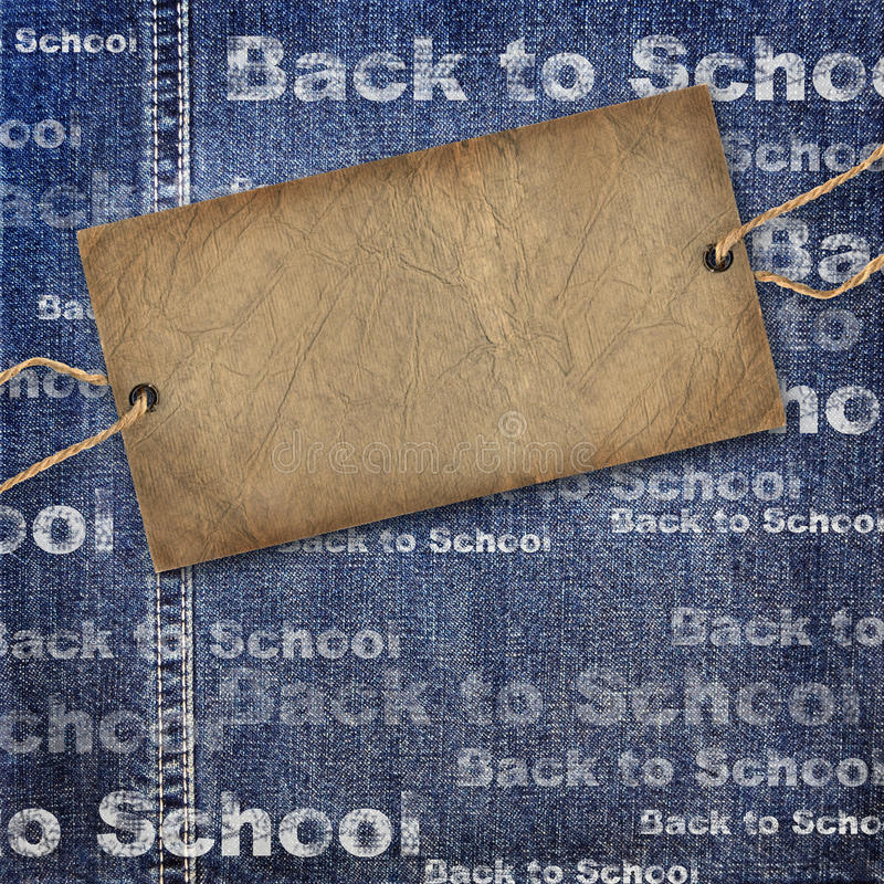 Denim texture label and Back to School. Blue and gray Denim texture with cardboard label and Back to School Background royalty free illustration