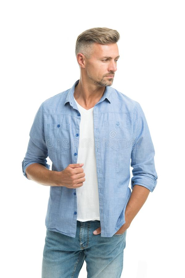Denim trend. Feeling casual and comfortable. Menswear and fashionable clothing. Man looks handsome in casual shirt. Guy. With bristle wear casual outfit royalty free stock photo
