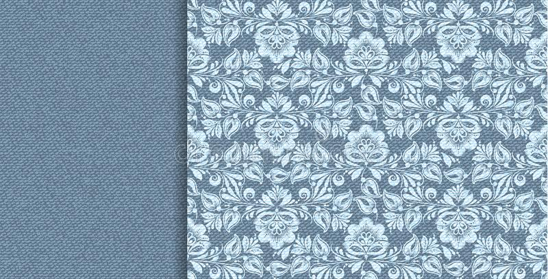 Denim vector floral lace in indigo abstract style on blue background. Decorative floral seamless pattern. vector illustration