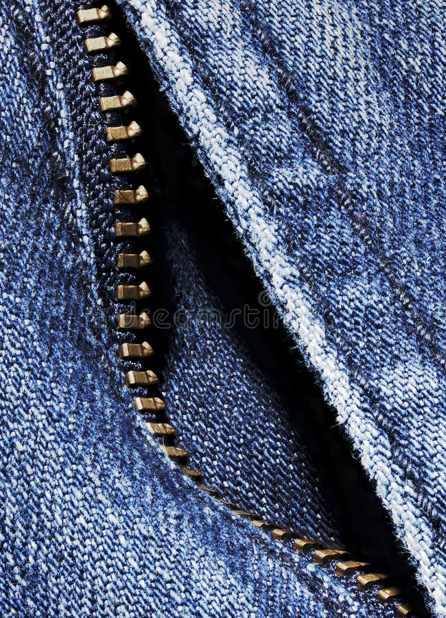 Denim with zipper stock image