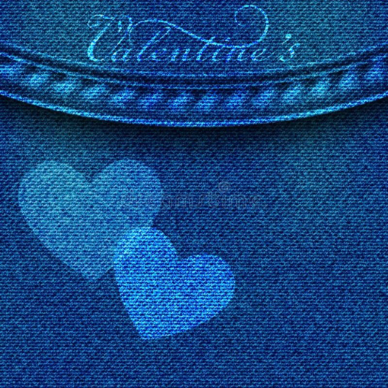 Denimachtergrond met harten De Kaart van de Groet van de Dag van valentijnskaarten 3d realistische elementen van liefde voor teks vector illustratie