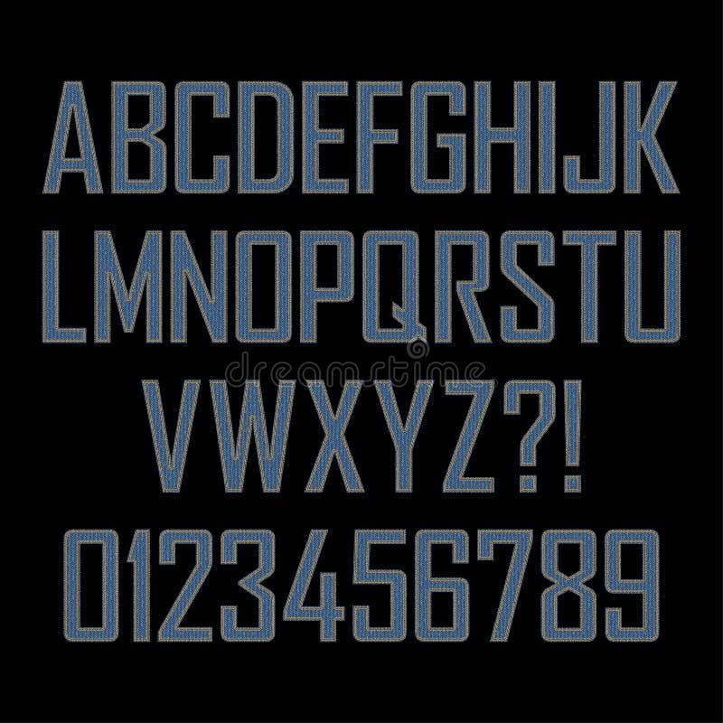 Denimalphabet Alle Buchstaben stock abbildung