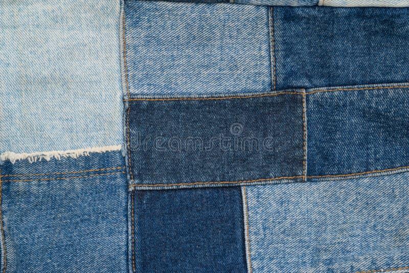 Denimpatchwork-Textilmuster stockbilder