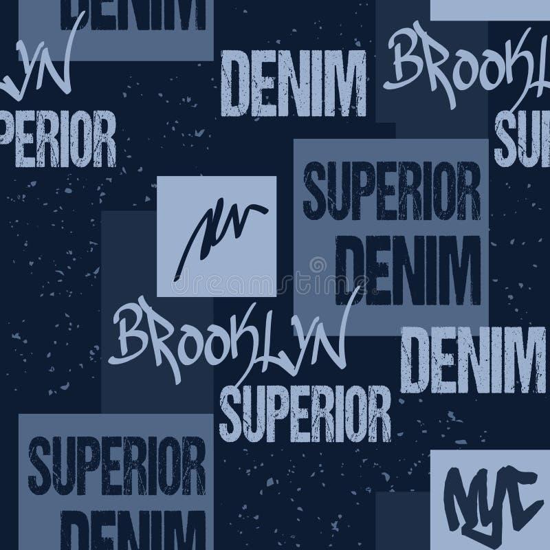 Denimtypografie, de stencil van de het Kunstwerkkleding van Brooklyn New York De Grafiek van manierjeans Naadloos stoffenpatroon  royalty-vrije illustratie