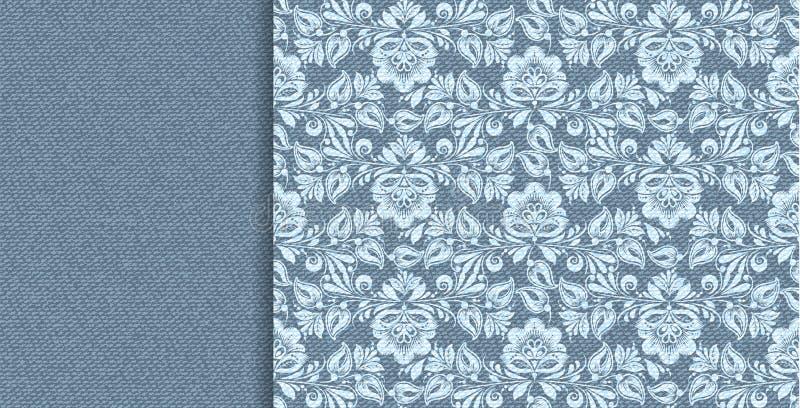 Denimvektor-Blumenspitze in der abstrakten Art des Indigos auf blauem Hintergrund Dekoratives nahtloses mit Blumenmuster vektor abbildung