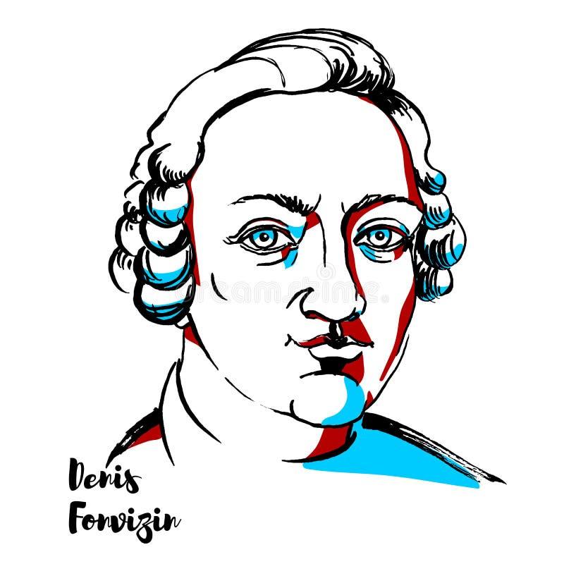 Denis Fonvizin Portrait royalty-vrije illustratie