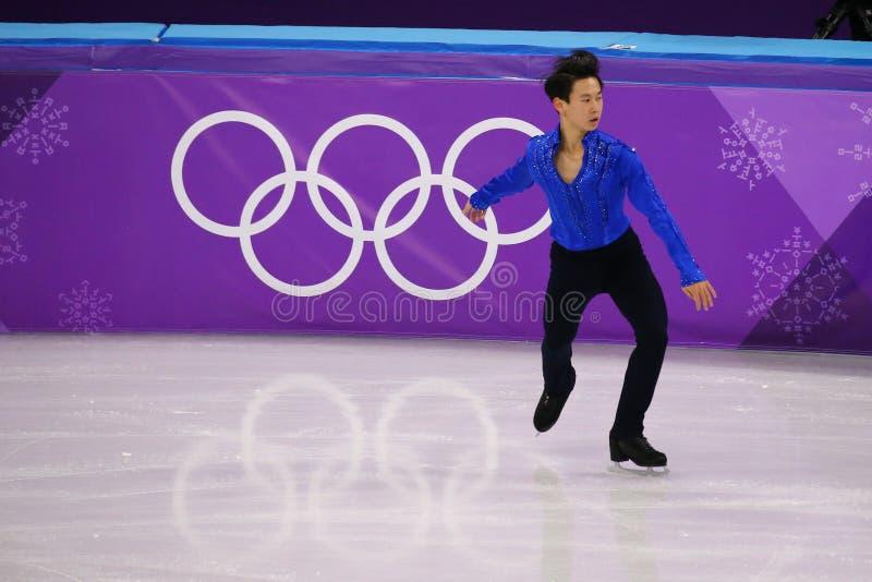 Denis Ten de Cazaquistão executa no único programa curto de patinagem dos homens nos 2018 Jogos Olímpicos do inverno fotos de stock royalty free