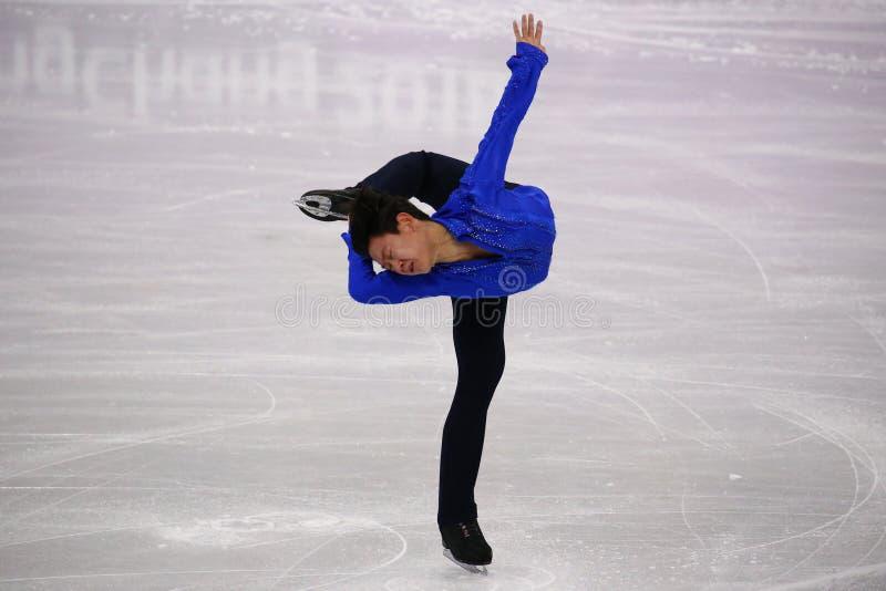 Denis Ten de Kazajistán se realiza en solo programa corto patinador de hombres en los juegos 2018 de olimpiada de invierno fotografía de archivo libre de regalías