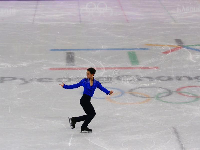 Denis Ten of Kazakhstan performs in Men Single Skating Short Program at the 2018 Winter Olympic Games stock images