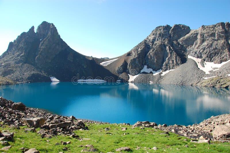 Deniz Golu Lake, kackar Turkey. The beautiful blue Deniz Golu lake in the Kackar mountains with grass, rocks and snow patches reflecting, Turkey royalty free stock photos