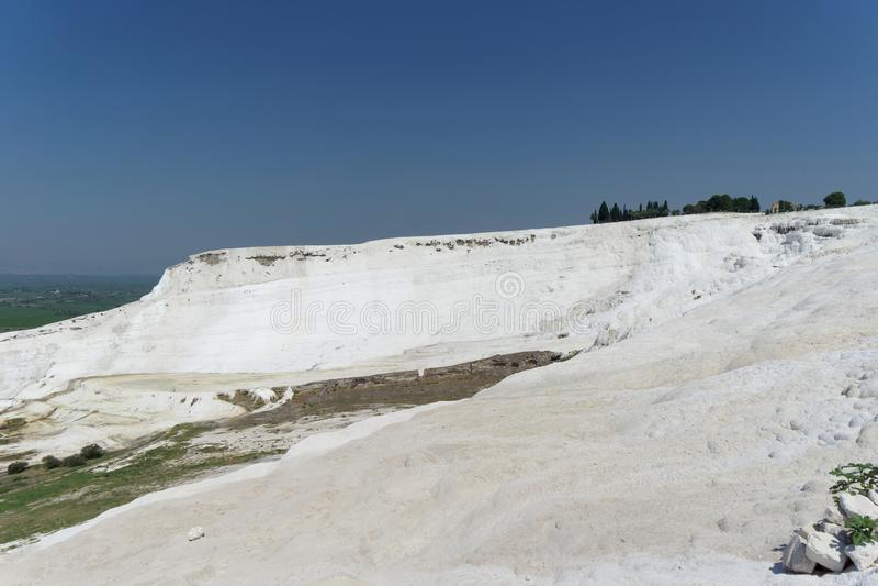 Denizli, Turkey. - July 20.2019. View of the snow-white Pamukkale . stock photography