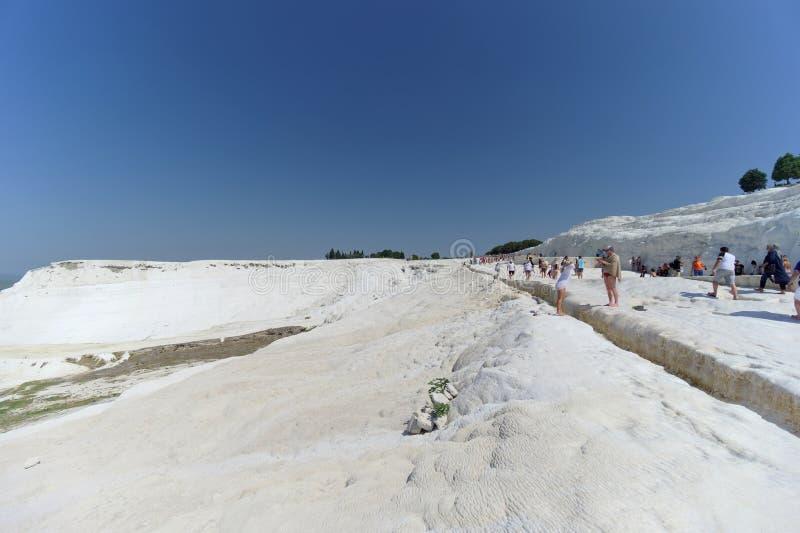 Denizli, Turkey. - July 20.2019. View of the snow-white Pamukkale . stock images