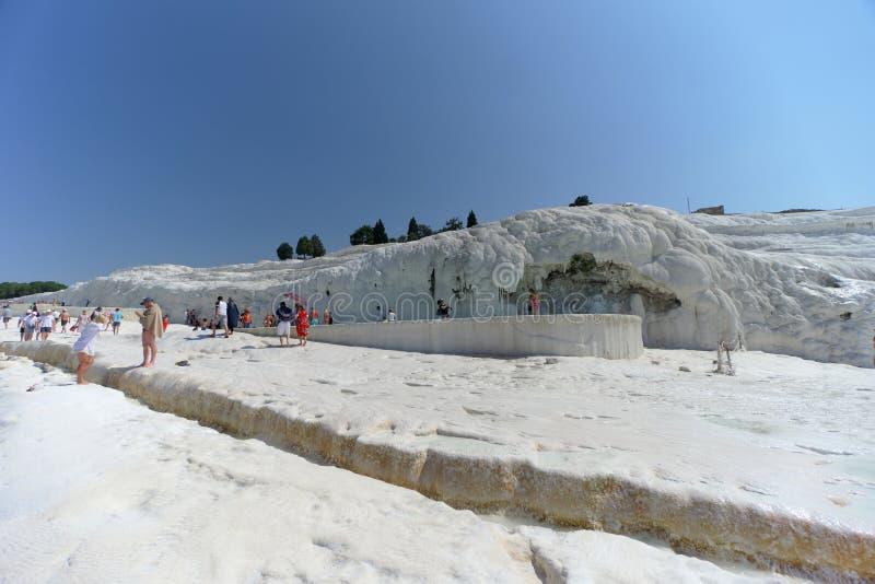 Denizli, Turkey. - July 20.2019. View of the snow-white Pamukkale . royalty free stock image