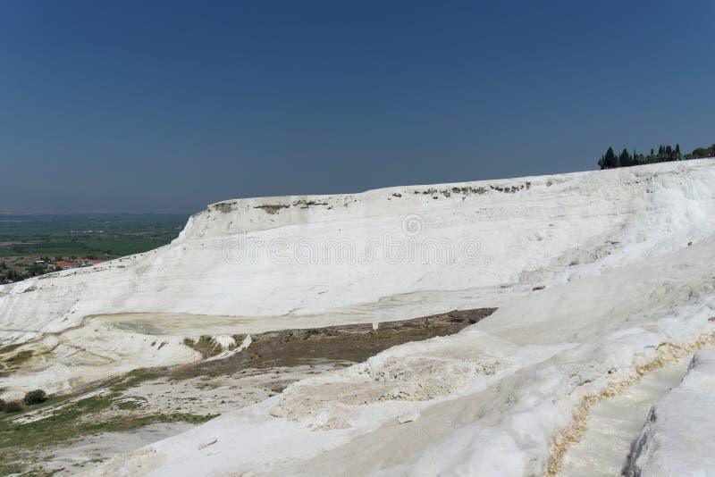 Denizli, Turkey. - July 20.2019. View of the snow-white Pamukkale . royalty free stock photo