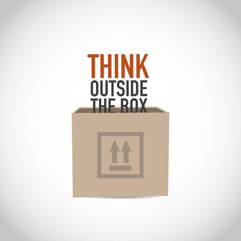 Denk buiten de doos stock illustratie