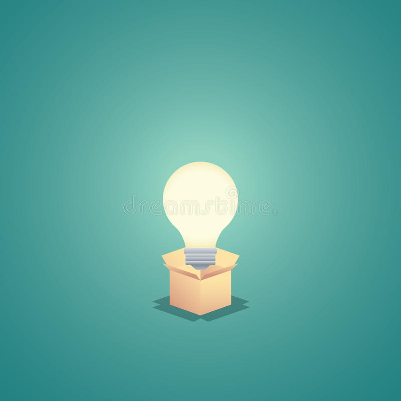 Denk buiten de doos bedrijfsconcepten vectorachtergrond met lightbulb Creativiteit en creatieve oplossingensamenvatting royalty-vrije illustratie