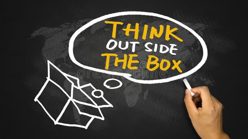Denk buiten de dooshand trekkend op bord stock afbeelding