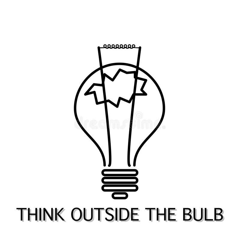 Denk buiten de inspirerende ideeën van de bol in plaats daarvan doos royalty-vrije illustratie