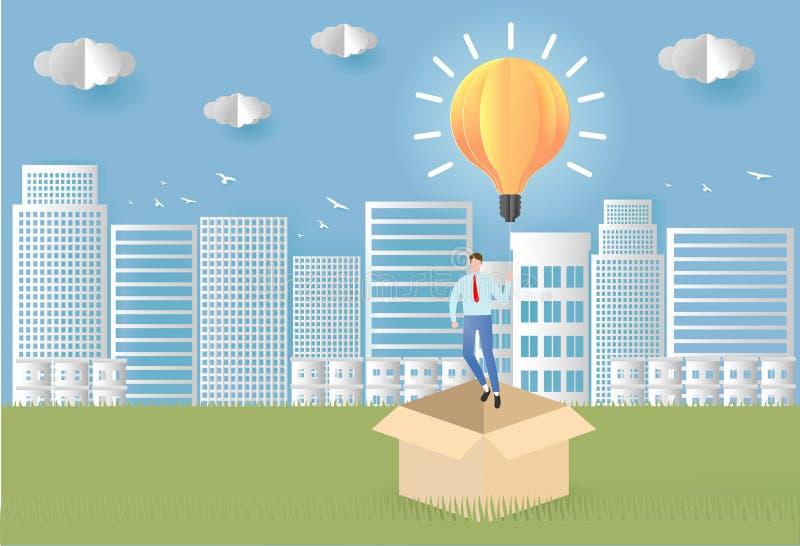 Denk buiten het doos bedrijfsconcept zakenman die unieque creatief idee voor oplossing hebben Zakenman die met gloeilamp vliegen stock illustratie