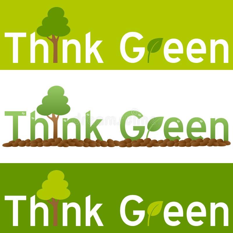 Denk de Groene Banner van het Concept vector illustratie