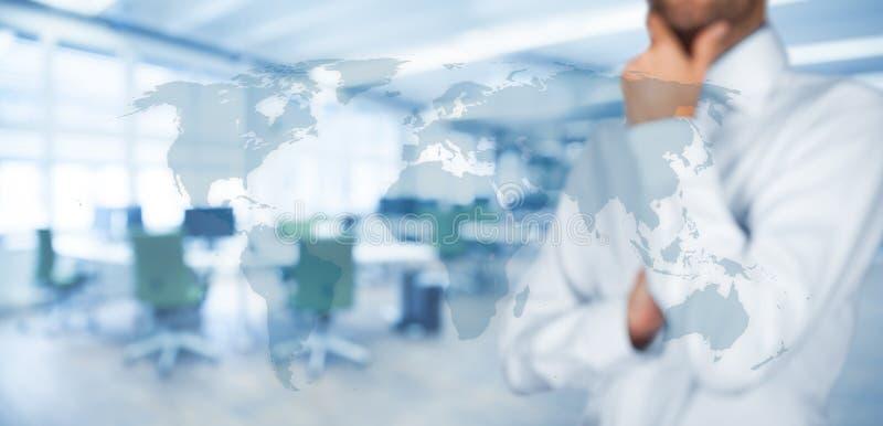 Denk globale en globale mededeling royalty-vrije stock afbeeldingen
