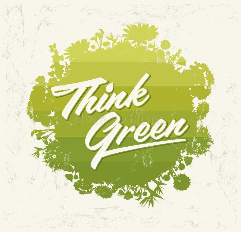 Denk Groen - het Creatieve van het het Ontwerpelement van Eco Vector Organische Biogebied met vegetatie stock illustratie