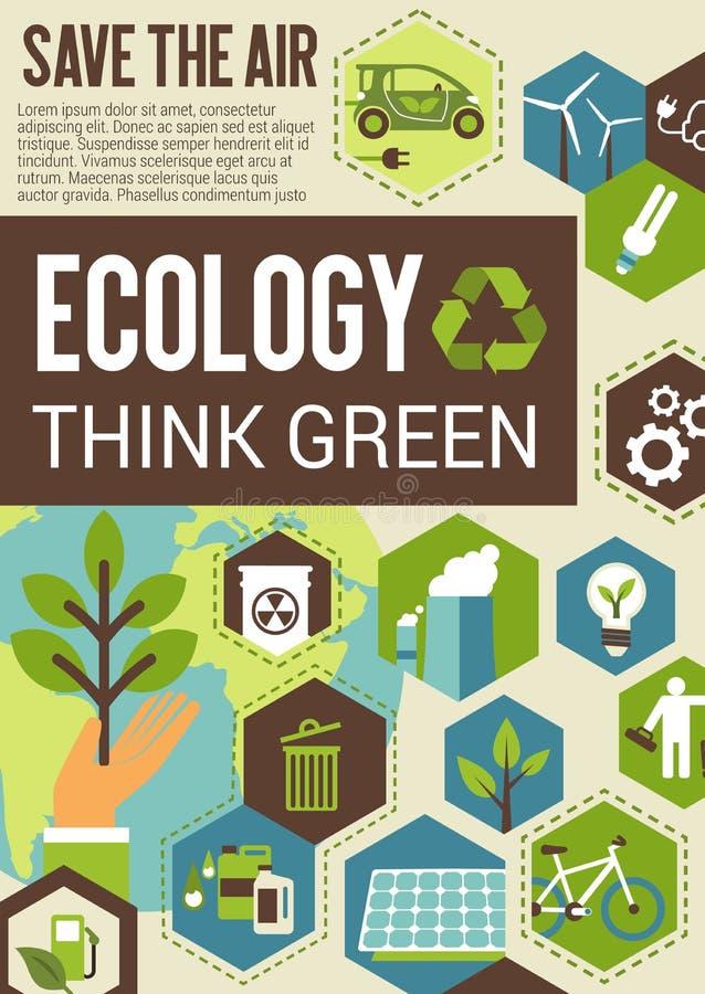 Denk groene ecobanner voor milieubescherming royalty-vrije illustratie