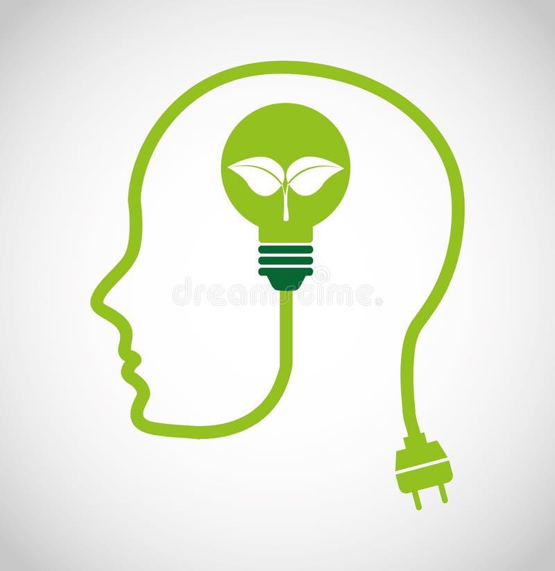 denk groene ecologiepictogrammen vector illustratie