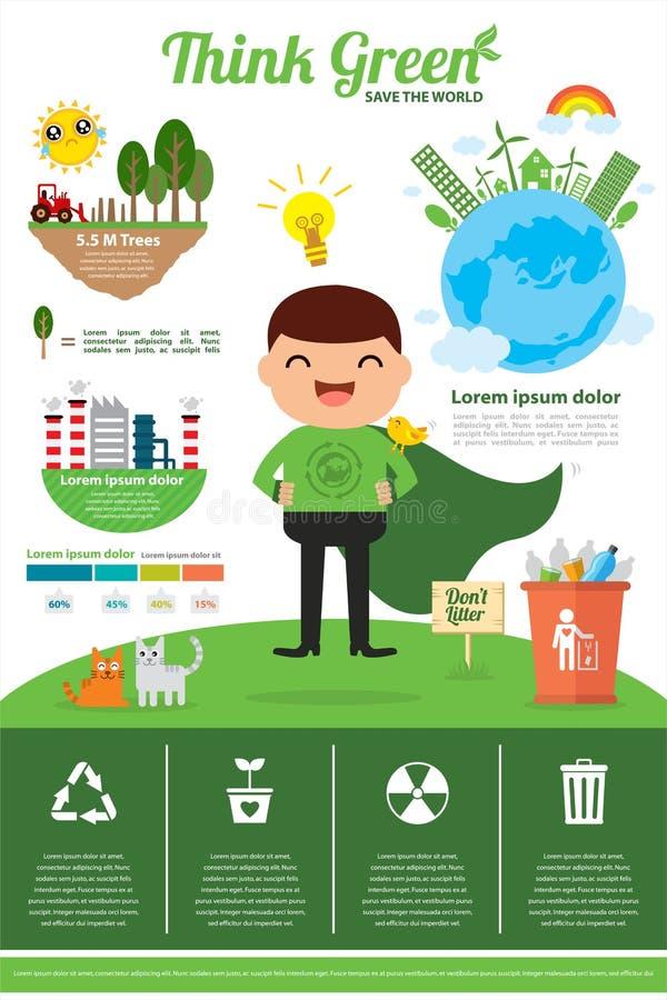 Denk groene infographic royalty-vrije illustratie