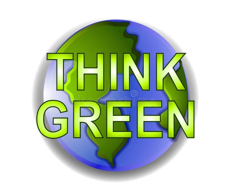 Denk het Groene Pictogram van de Aarde stock illustratie