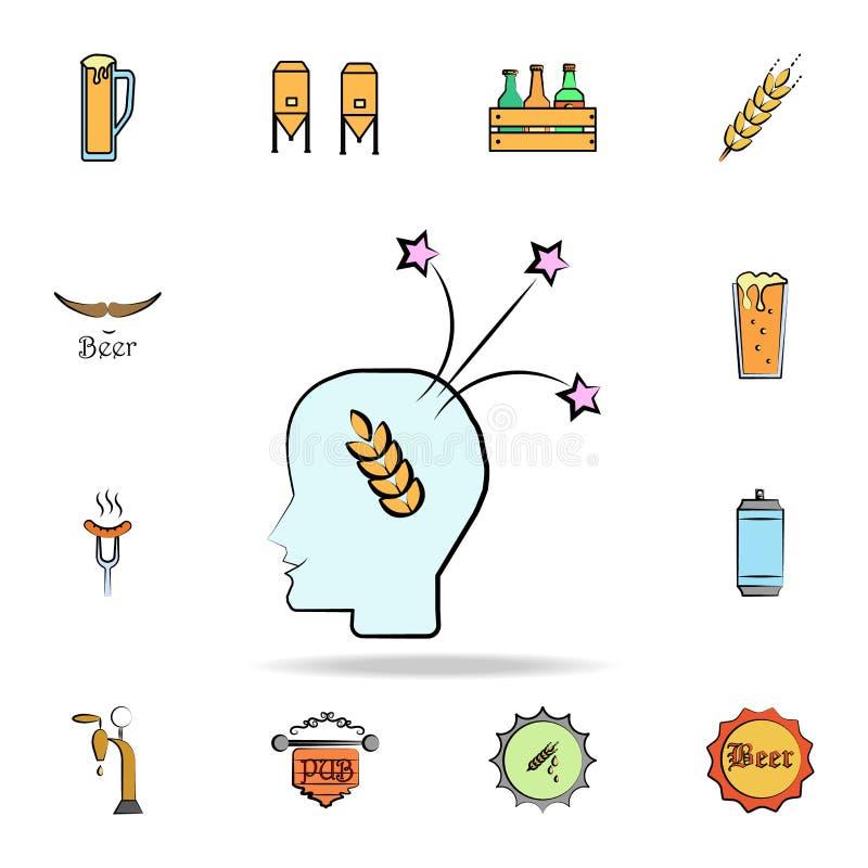 Denk over het gerst gekleurde pictogram van de schetsstijl Gedetailleerde reeks ter beschikking getrokken van het kleurenbier sti vector illustratie