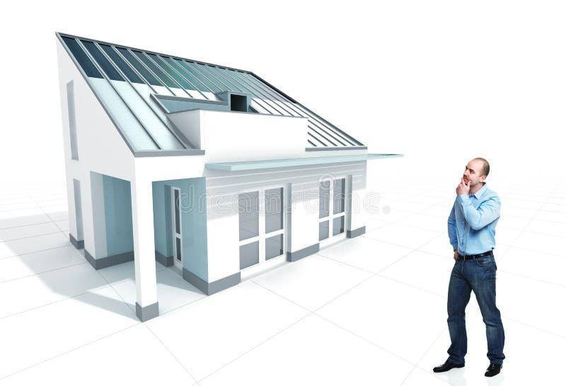 Denk over nieuw huis stock fotografie