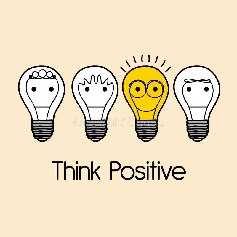 Denk positief vector illustratie