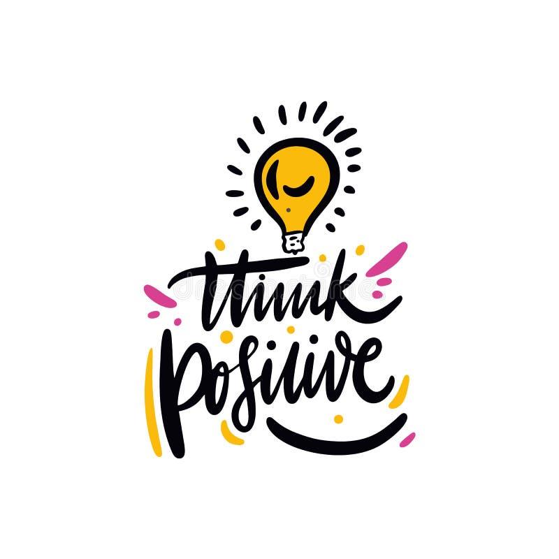 Denk positief Hand getrokken vector het van letters voorzien citaat De stijl van het beeldverhaal Geïsoleerdj op witte achtergron royalty-vrije illustratie