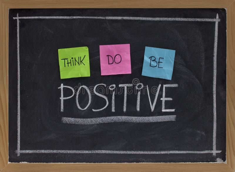 Denk, positief zijn stock afbeelding