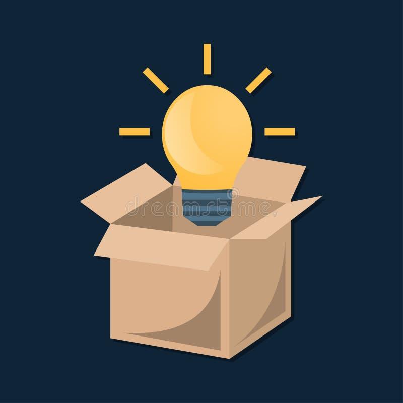 Denk positieve buiten het symbool vectorillustratie van het doosconcept stock illustratie