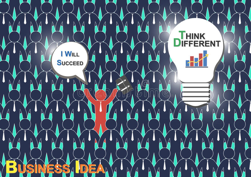 Denk Verschillend (Bedrijfsidee) (de zakenman heeft verschillend idee maar andere zakenman heeft geen idee) stock illustratie