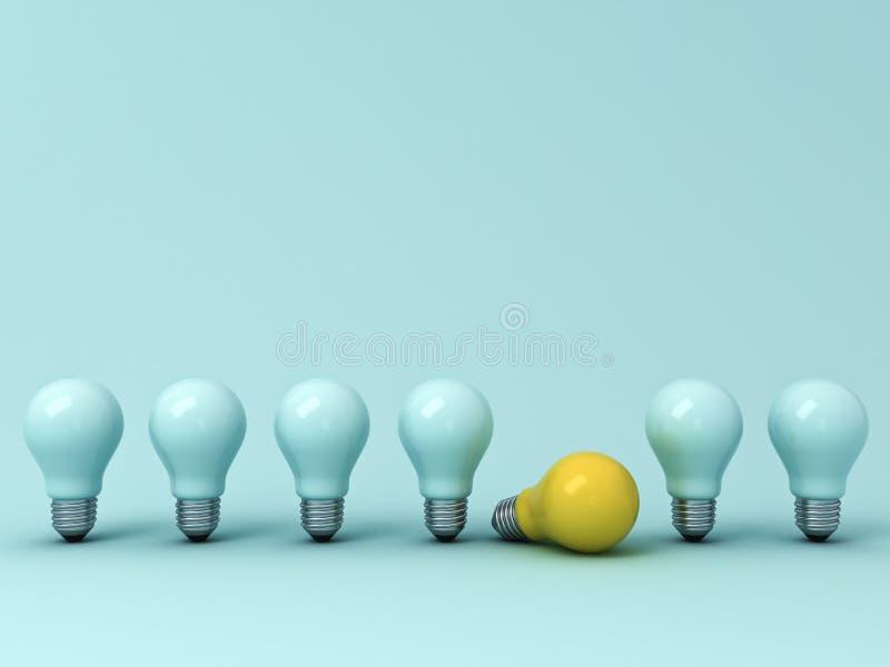 Denk verschillend concept, Één gele ideebol die met de bevindende unlit gloeilampen op blauwe pastelkleurachtergrond liggen royalty-vrije illustratie