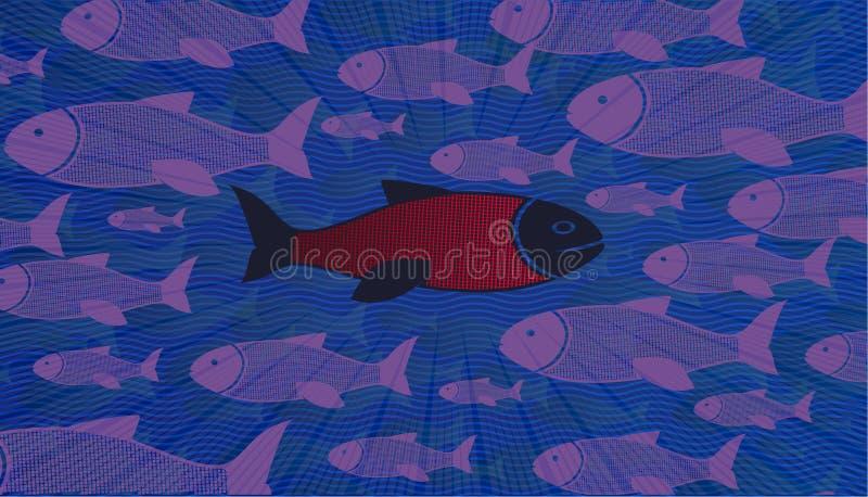 Denk verschillend De moedige vissen durven om tegen de stroom te zwemmen vector illustratie