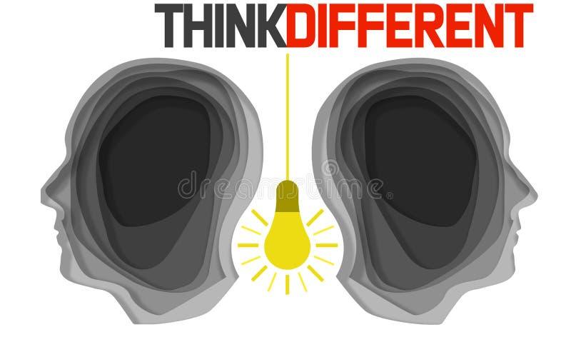 Denk verschillend ontwerp over witte achtergrond stock illustratie