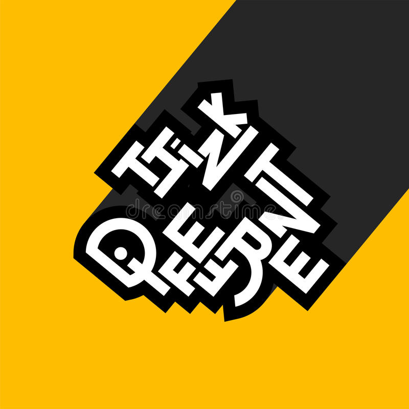 Denk verschillende uitdrukking, het teken van het graffitiembleem, het symbool van het conceptenpictogram royalty-vrije illustratie