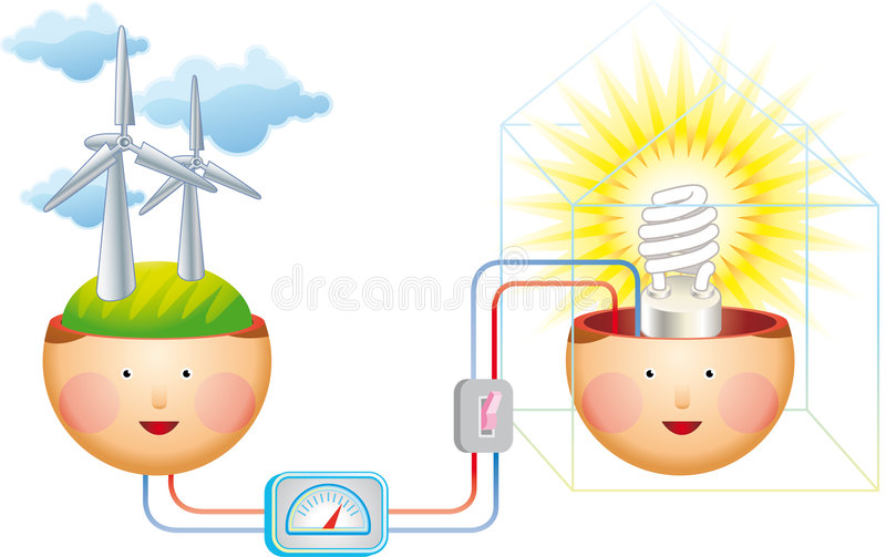 Denk winderig vector illustratie