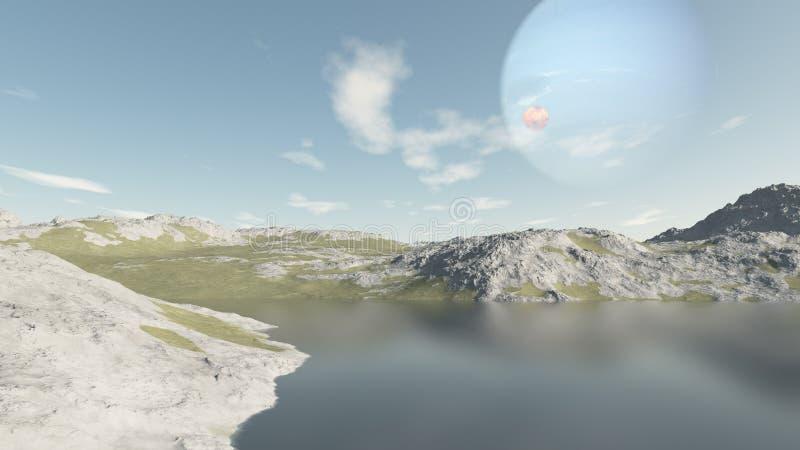 Denkbeeldig beeld van een een andere planeet die ai heeft royalty-vrije illustratie
