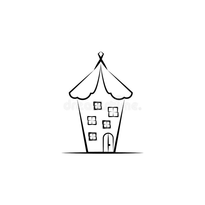 Denkbeeldig huispictogram Element van hand getrokken Denkbeeldig huispictogram voor mobiele concept en webtoepassingen Hand getro stock illustratie