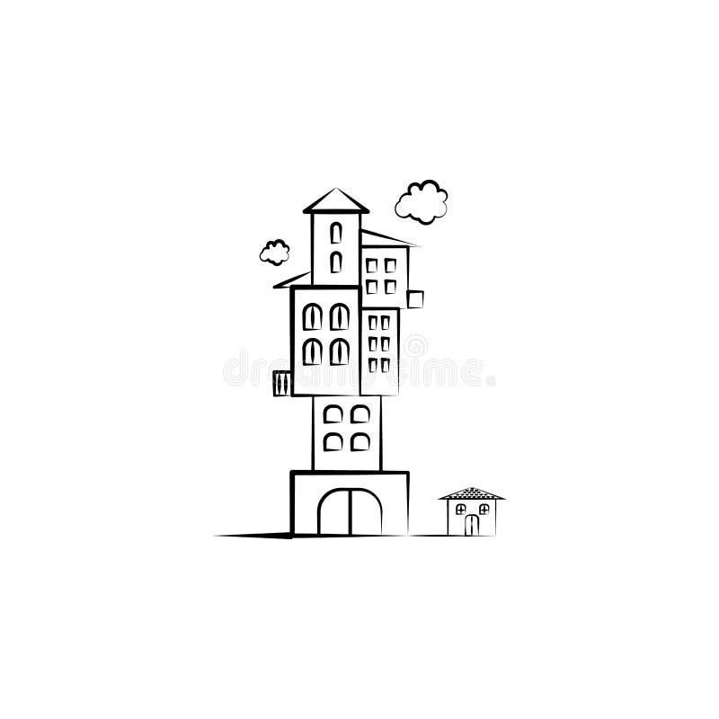 Denkbeeldig huispictogram Element van hand getrokken Denkbeeldig huispictogram voor mobiele concept en webtoepassingen Hand getro vector illustratie