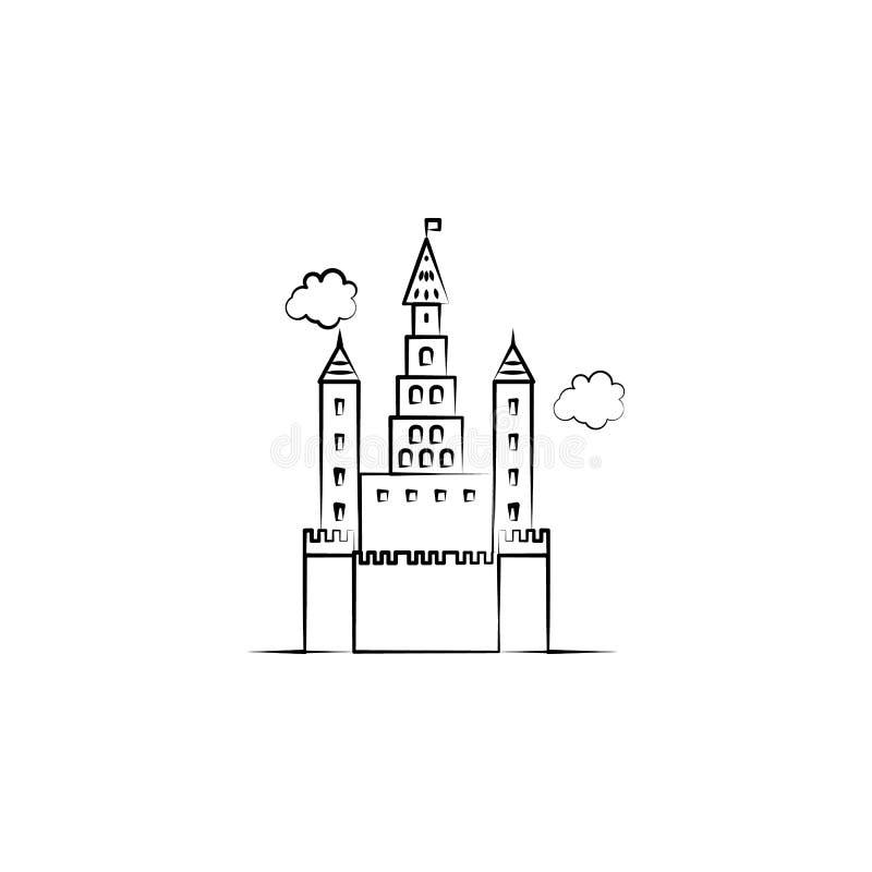 Denkbeeldig kasteelpictogram Element van hand getrokken Denkbeeldig huispictogram voor mobiele concept en webtoepassingen Hand ge royalty-vrije illustratie