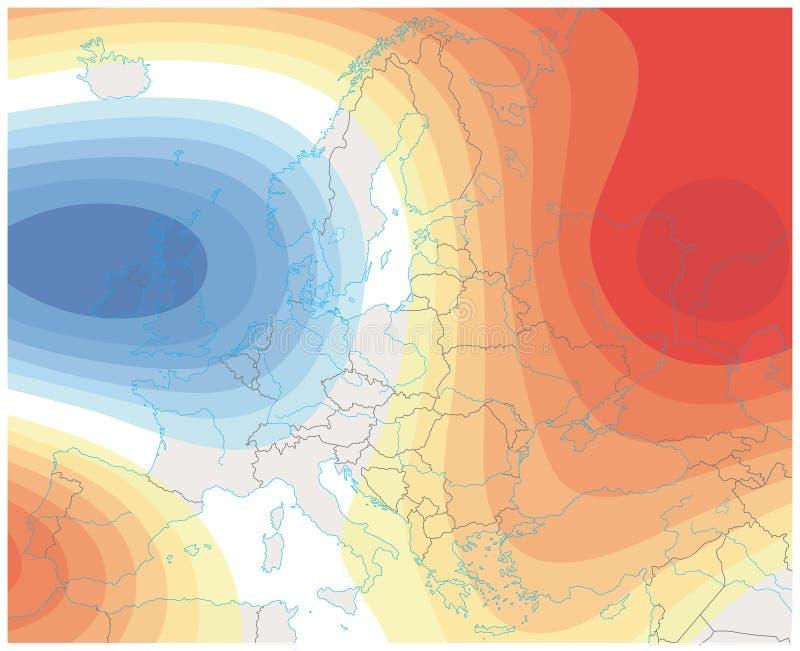 Denkbeeldig meteorologisch weerbeeld van de het weerkaart van Europa stock illustratie