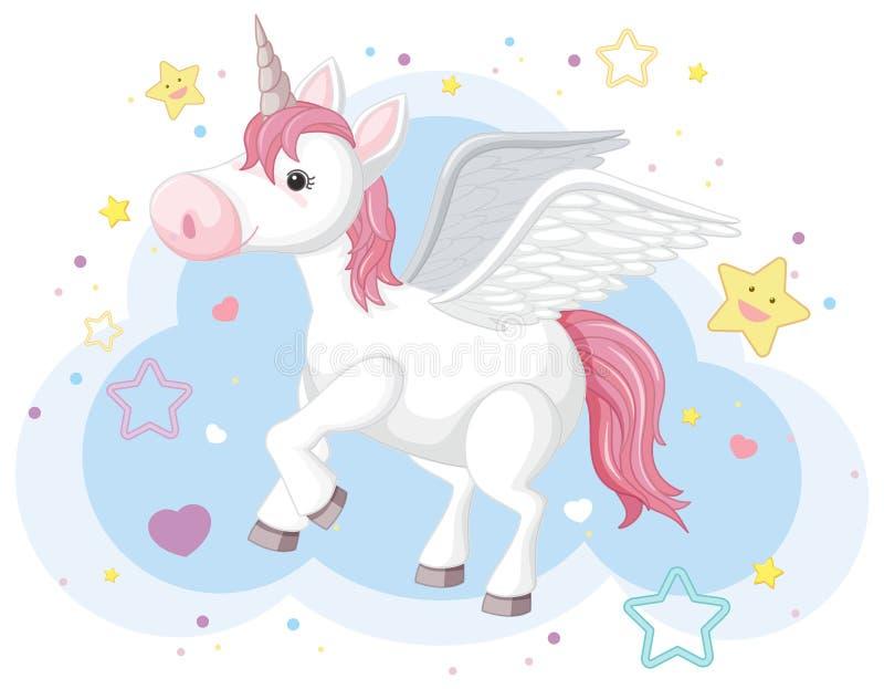 Denkbeeldig paard met hoorn en vleugels stock illustratie